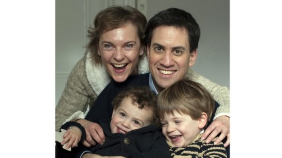 Justine and Ed Miliband are at their north London home with their children Daniel and Sam in their Christmas Card for this year.