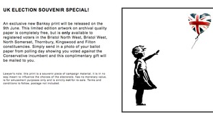 Banksy offers limited edition prints for anti-Tory votes