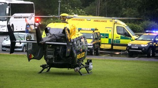 The police helicopter brought the woman to hospital.