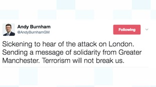 Manchester Mayor Andy Burnham tweeted this message