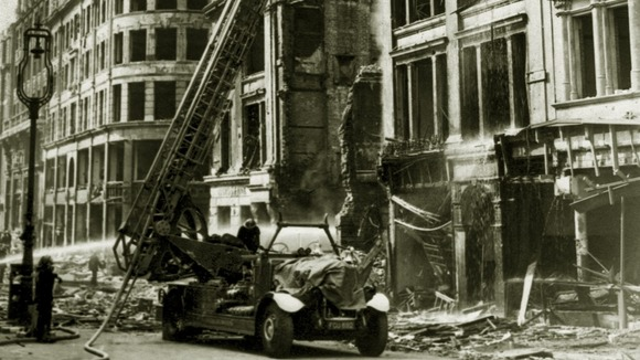Damage caused by bombs dropped in Central London in 1944.