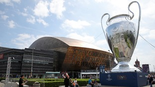 A giant Champions League Trophy became a new Cardiff landmark
