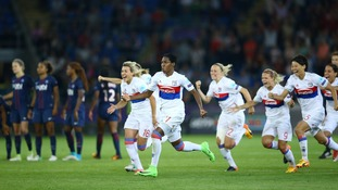 Lyon players celebration after the decisive penalty scored during the UEFA Women's Champions League final