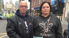 Manchester victim's stepfather and mum lay flowers for the London attack victims