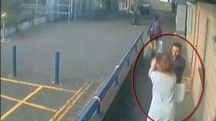 Eke seen on CCTV assaulting Lauren O'Neill, in July 2016.