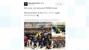 Justin Bieber visits ice hockey team Manchester Storm again