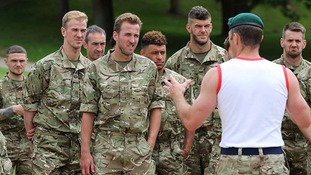 Royal Marines give tips to England football team on intense training weekend