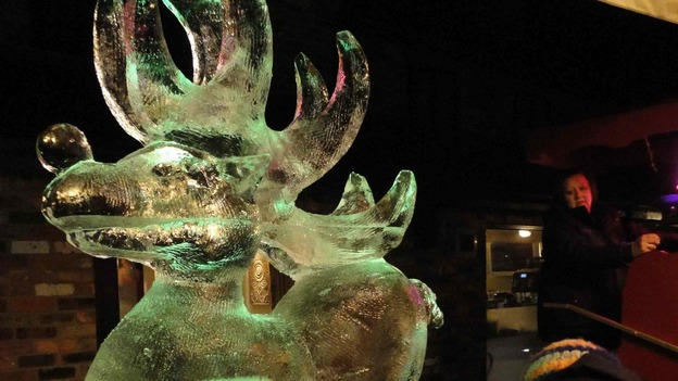 A reindeer ice sculpture.