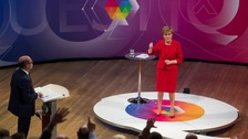 First Minister Nicola Sturgeon speaking at a BBC Question Time debate in Edinburgh.