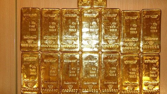 Gold bullion recovered by police after Belgium heist.