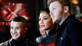 X Factor judge Nicole Scherzinger with finalists James Arthur, right, and Jahmene Douglas