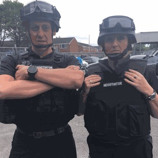 Some of the PSNI Hostage Negotiator team getting ready to go out on the ground.