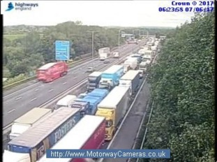 There are major problems on the M1 southbound in Northamptonshire.