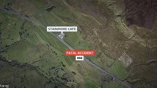 Biker dies after A66 crash in Cumbria