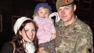 Kingsman Danny Gasgarth with his fiancee Grace Maltby and their daughter Lucy aged 2