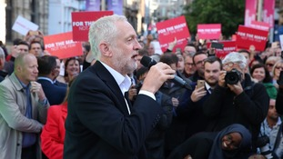 Jeremy Corbyn at a rally in Glasgow