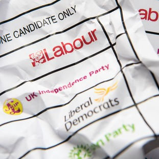 A crumpled mocked-up ballot paper.