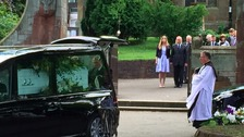 Tracey and Pierce arrived at St Mary's Church in Oldswinford in a single white coffin.