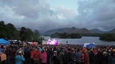 Live music at Derwentwater shore at the Keswick Mountain Festival