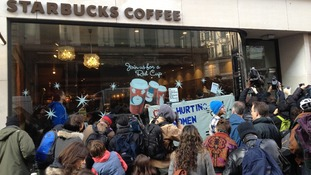 Protests at Starbucks Stores in London