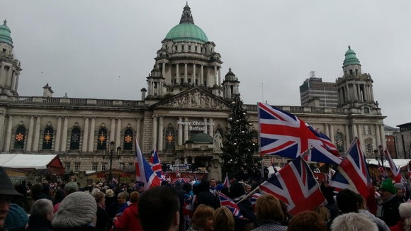 Marchers reach City Hall bearing Union flags