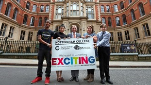 Nottingham College CEO John van de Laarschot (centre) with Central and NCN staff and students.