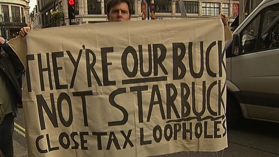 Protesters outside a Starbucks in London