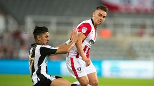 Billy Waters in action against Newcastle United last season.