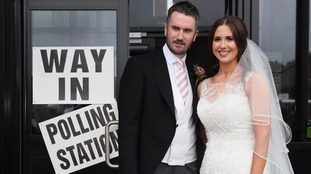 Prospective MP and new husband pause their wedding celebrations to vote