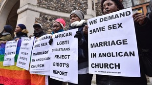 Protesters in favour of same-sex marriages earlier this year.