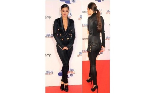 The singer wore a striking £3,240 Balmain black tuxedo jumpsuit.