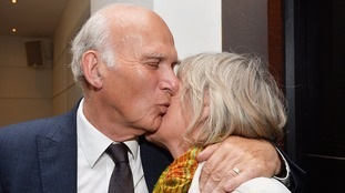 Sir Vince Cable is congratulated by his wife Rachel after being re-elected as the MP for Twickenham