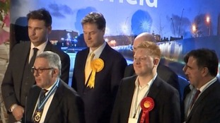 Jared O'Mara (front right) stole Nick Clegg's seat from him.