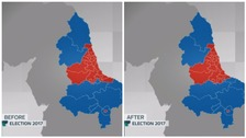 The North East constituency map BEFORE & AFTER the 2017 General Election