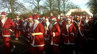 Crowd of Santa's