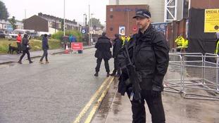 Armed police at the Elton John concert in Blackburn