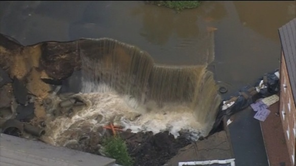Flooding at Newburn, in Newcastle, where a culvert collapsed