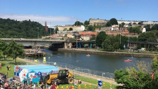 Hundreds turn out for triathlon in Bristol's historic Harbourside