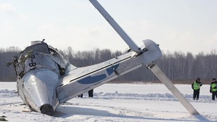 The wreckage of the Russian aeroplane in Siberia.