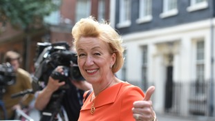Andrea Leadsom, who has been appointed Leader of the Commons, leaves 10 Downing Street.