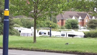 Travellers set up camp moments after being evicted from park