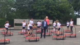 Our Weather Presenter Des Coleman is out and about meeting pupils who've got trampolines for their PE classes
