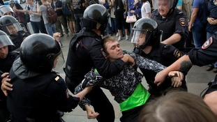 Russian police detain 700 anti-government protesters at Moscow and St Petersburg rallies