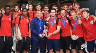 Back home! England's U20 World Cup winners return with the trophy