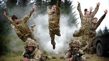 Dancers re-enact a key moment in 5 SOLDIERS with members of Scots DG in front