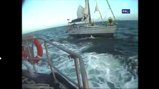 The RNLI going to the aid of a sailor in trouble off the Suffolk coast