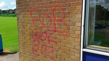 Just one of the messages drawn by the group of vandals.