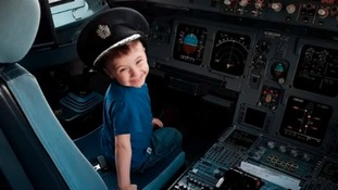 Kian was allowed in the cockpit on his flight back from America