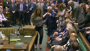 John Bercow is dragged to the Speaker's chair.
