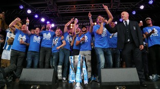 Huddersfield Town celebrate during promotion parade